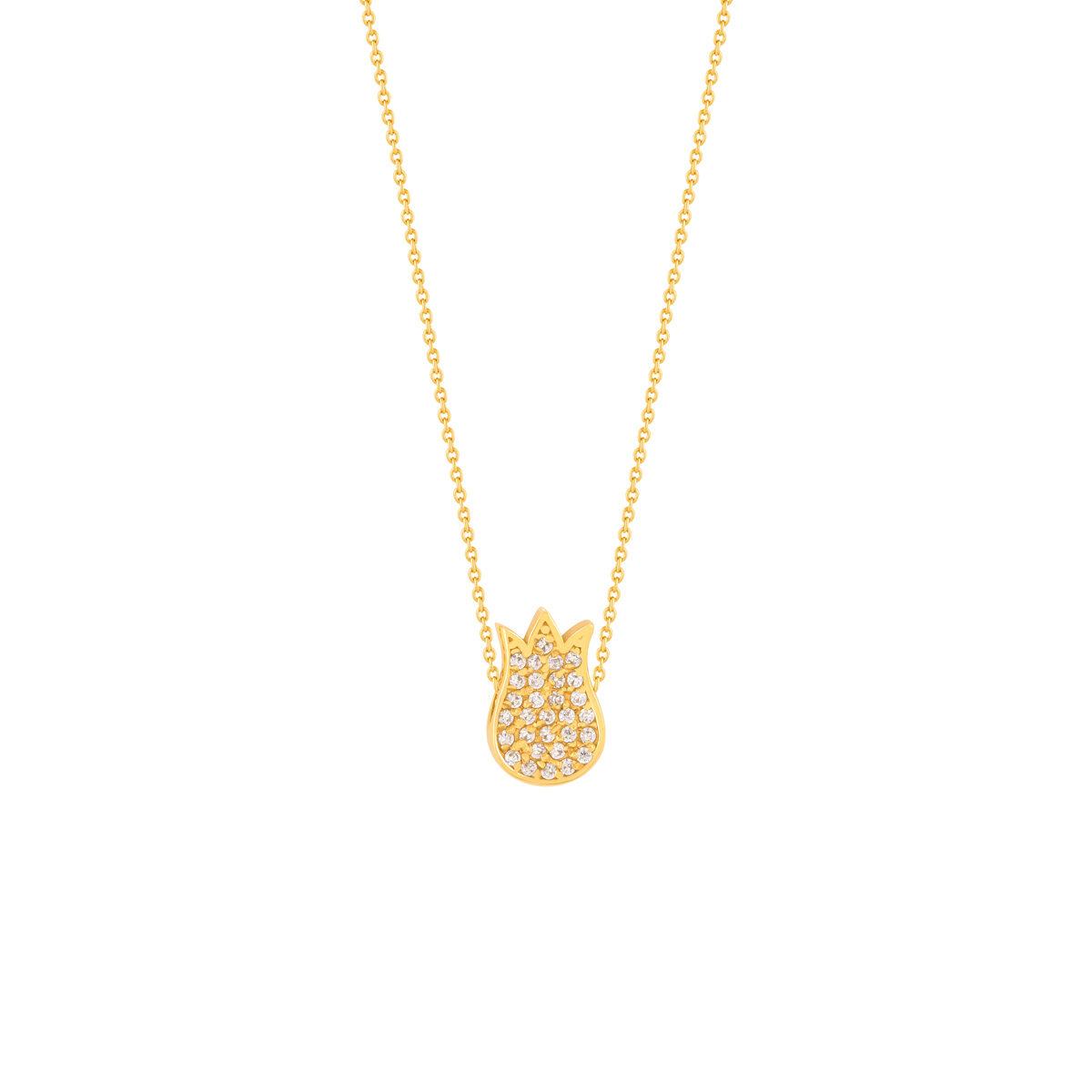 گردنبند طلا گل نگین دار