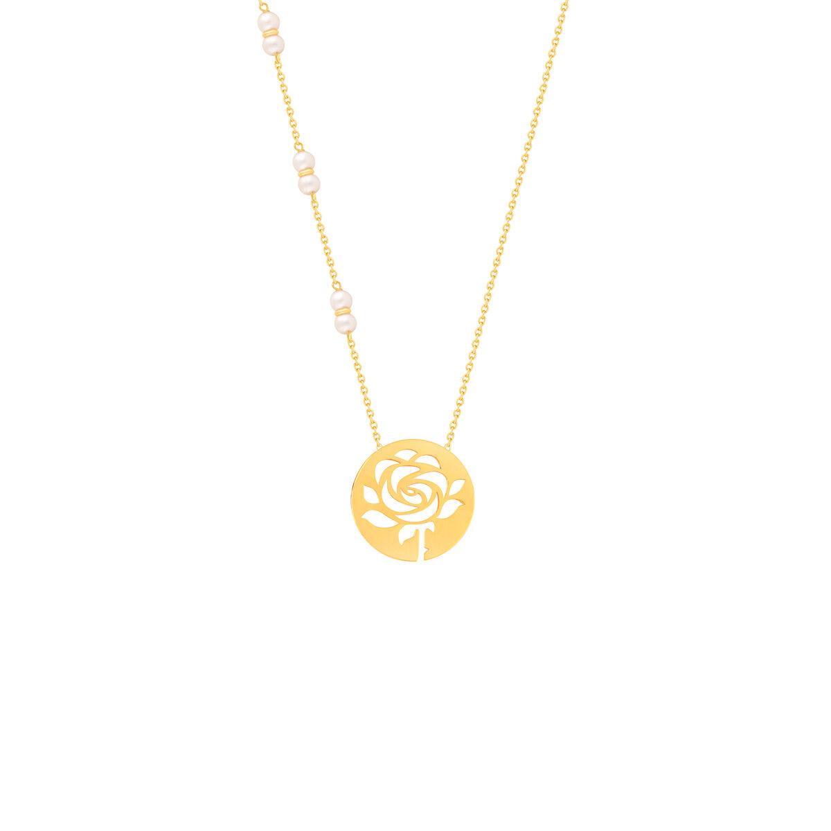 گردنبند طلا پلاک گل رز و مروارید