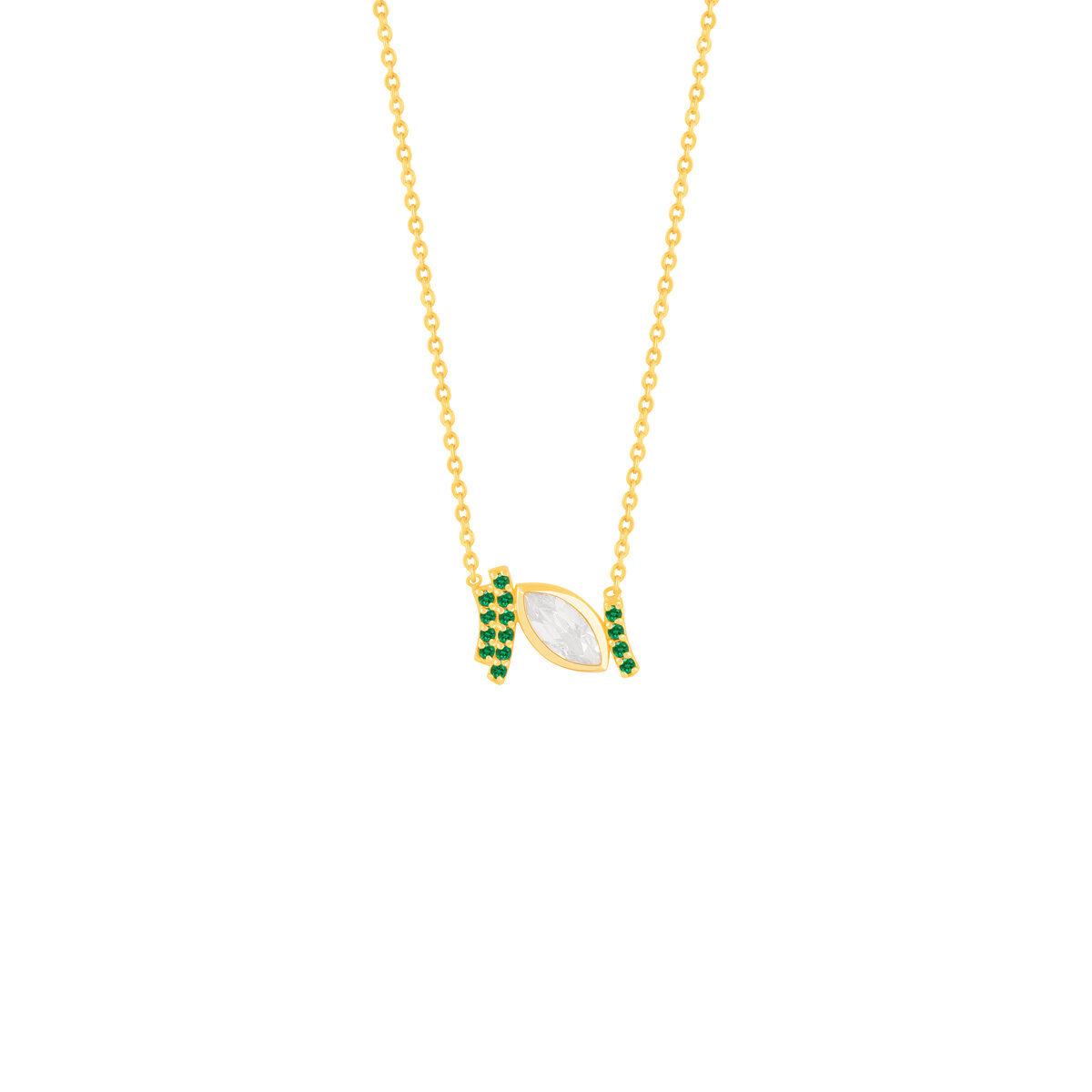 گردنبند طلا اشک سفید و نگین سبز
