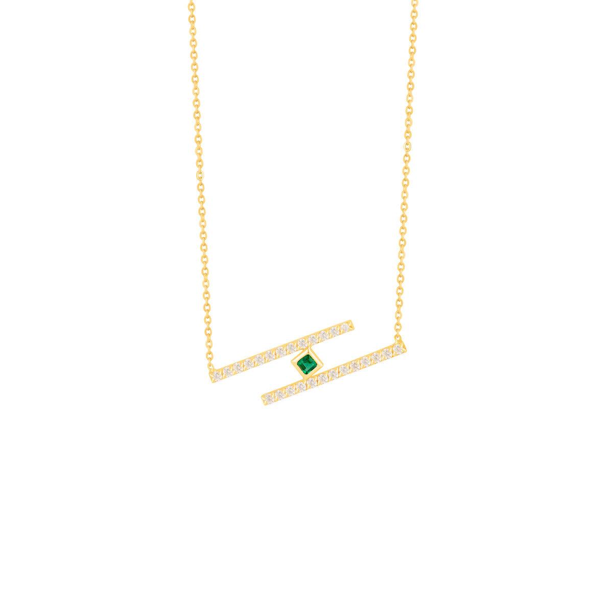گردنبند طلا دو خط نگین دار و مربع سبز