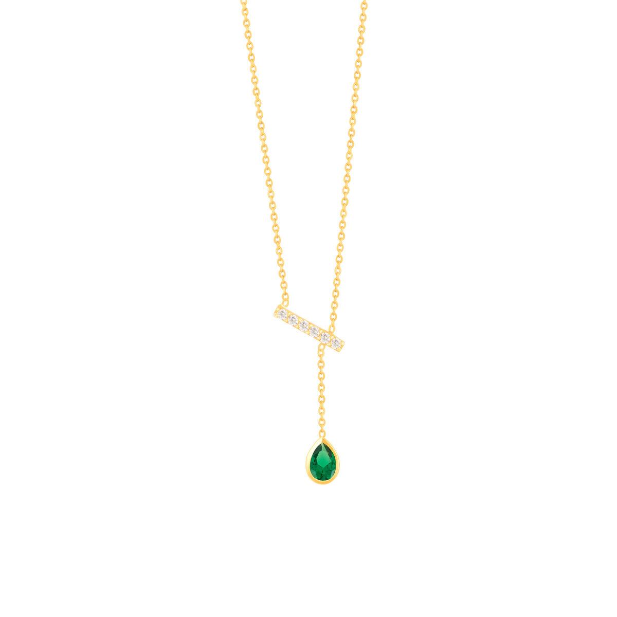 گردنبند طلا خط نگین دار و اشک سبز
