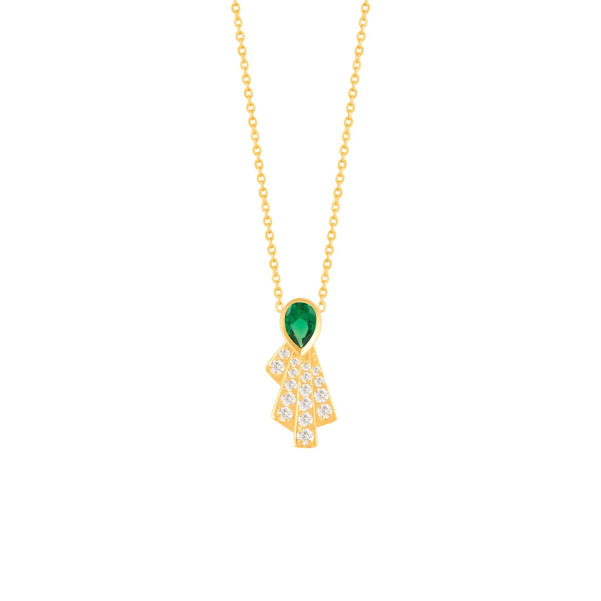 گردنبند طلا اشک سبز و چهار خط نگین دار