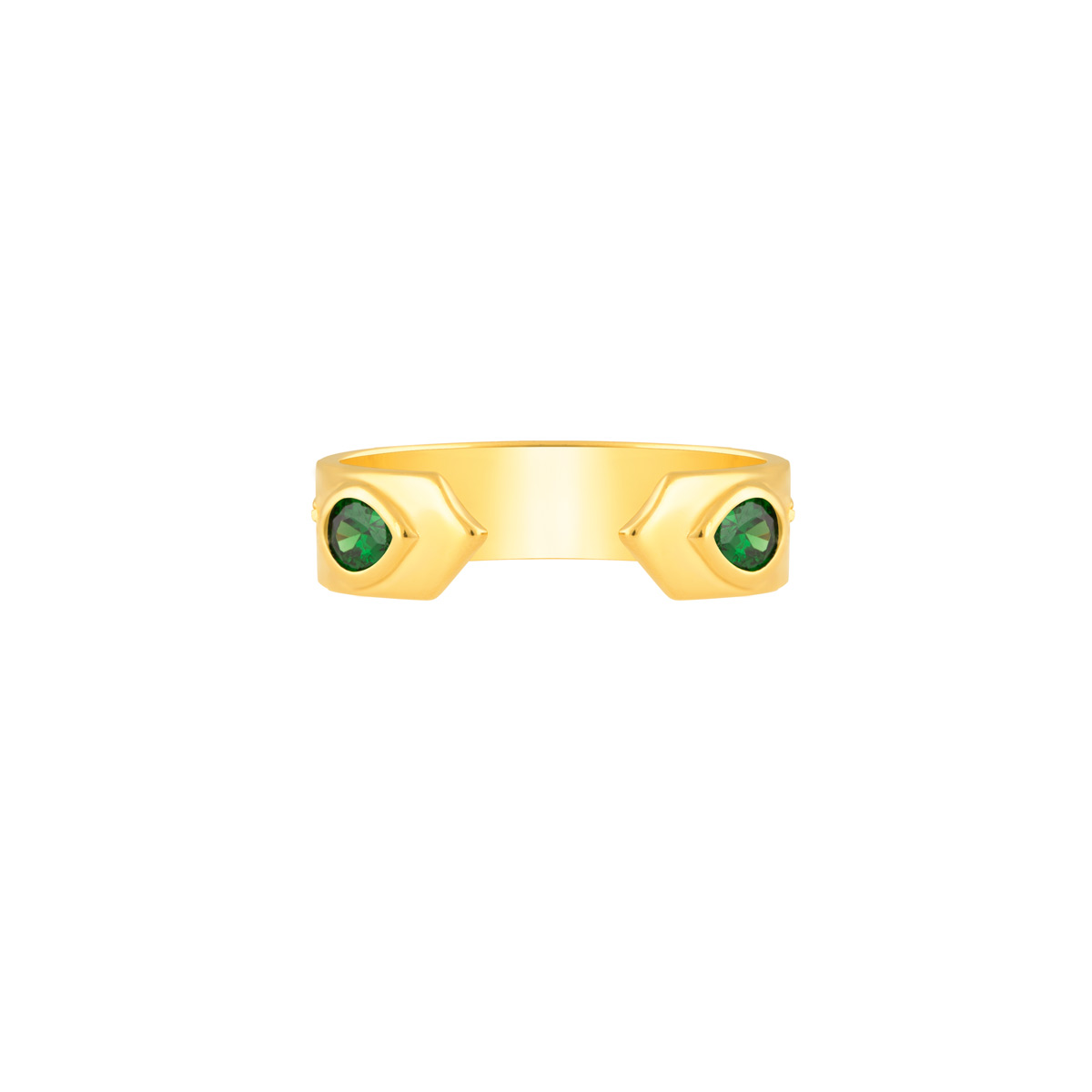 انگشتر طلا دو اشک سبز