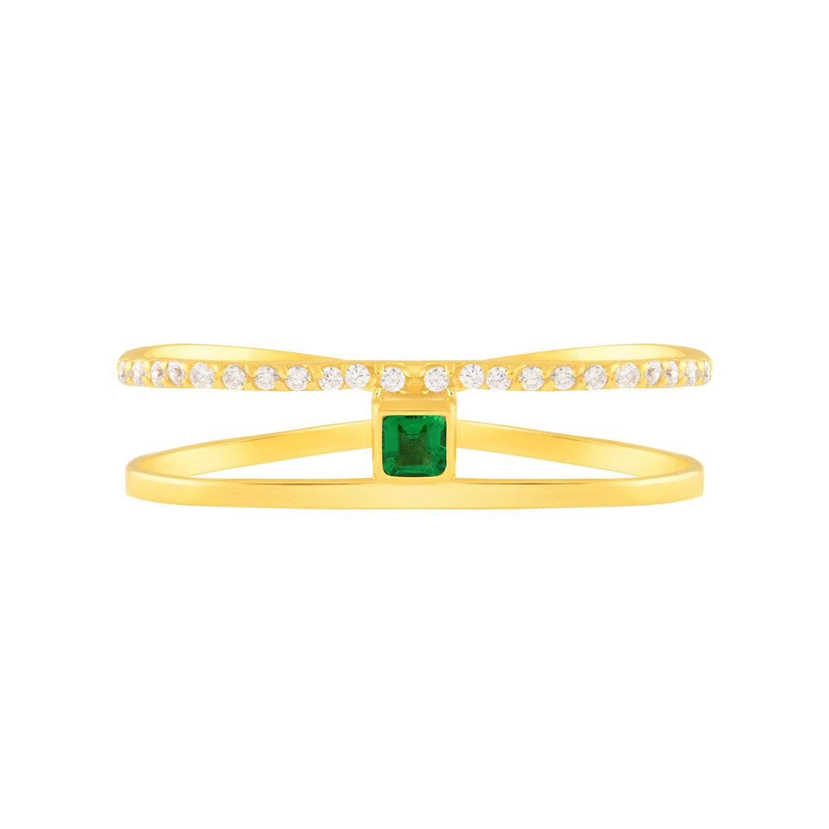 انگشتر طلا دو انگشتی نگین مربع سبز