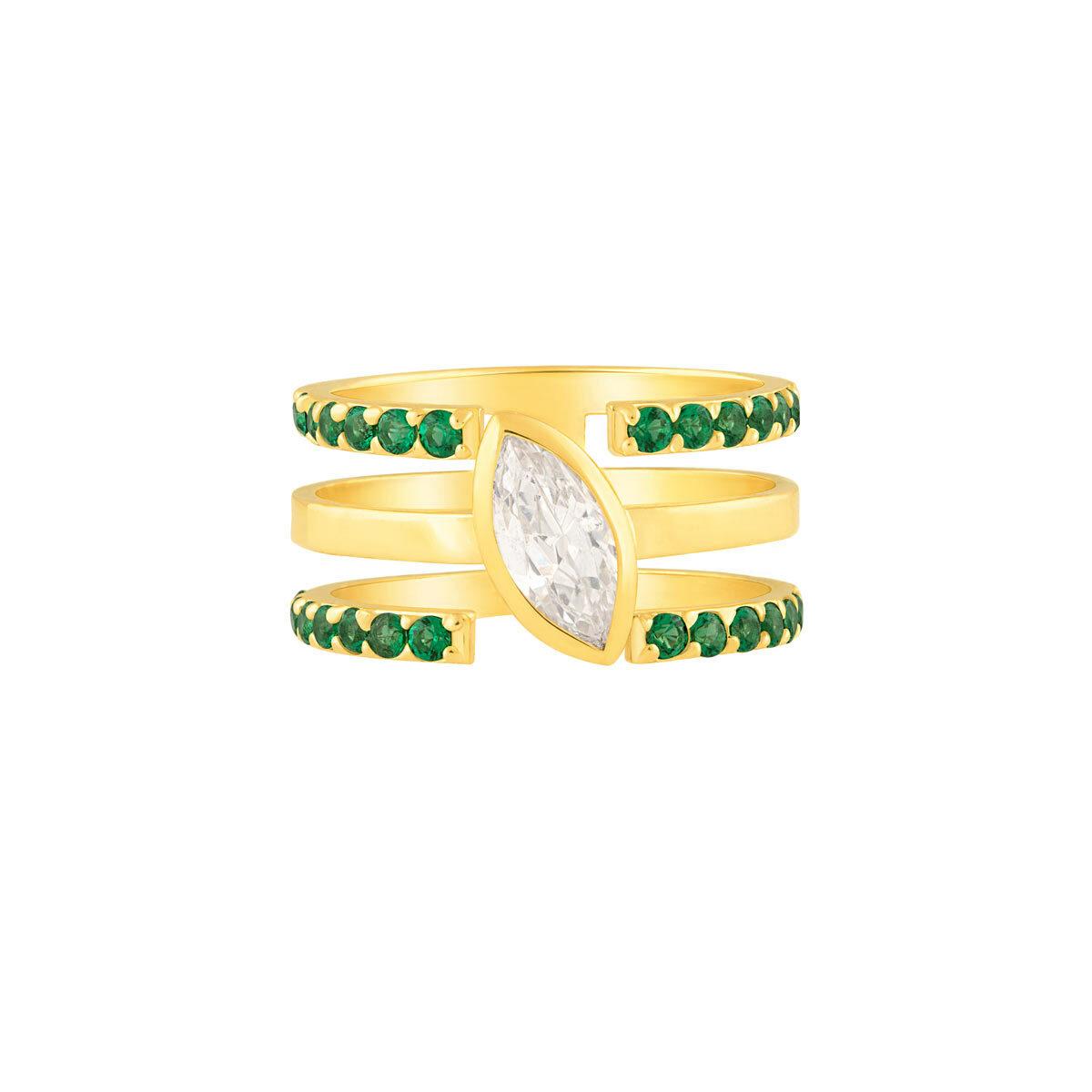 انگشتر طلا سه رینگ اشک و نگین سبز