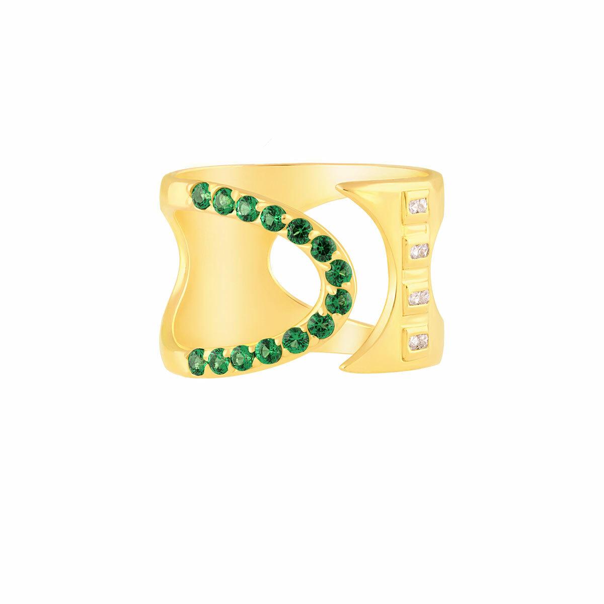 انگشتر طلا نیم دایره سبز و نگین باگت