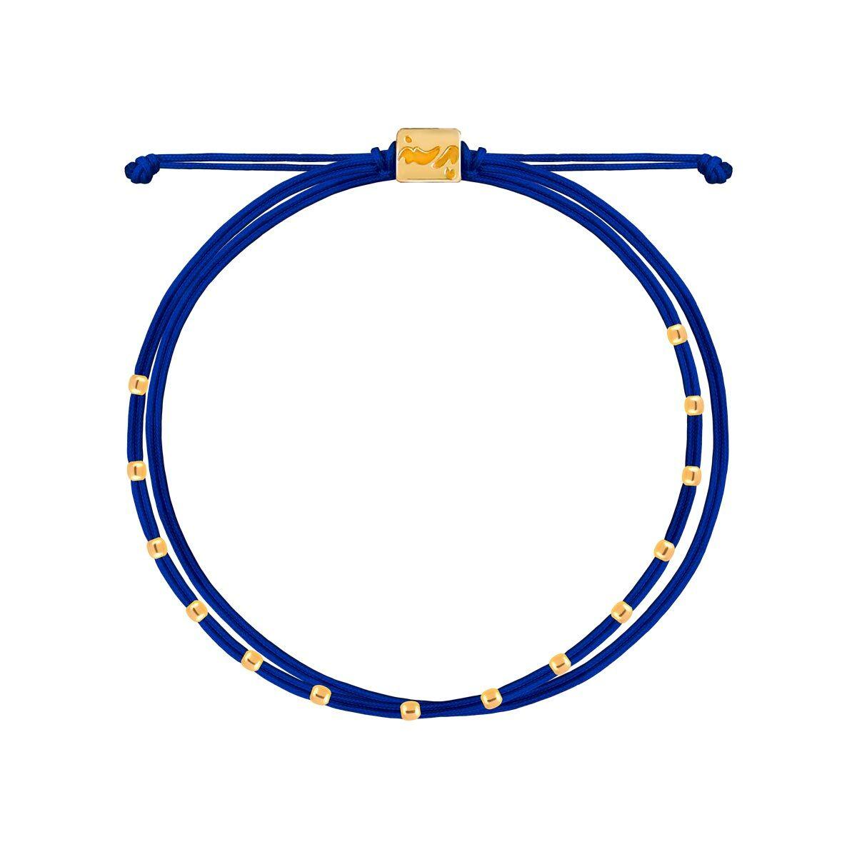 دستبند طلا بافت آبی چهارده مهره
