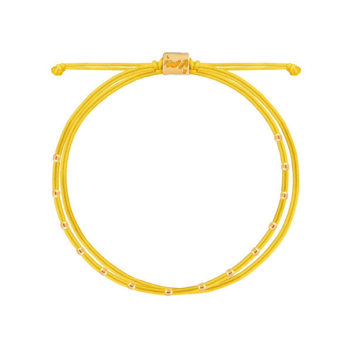 دستبند طلا بافت زرد چهارده مهره