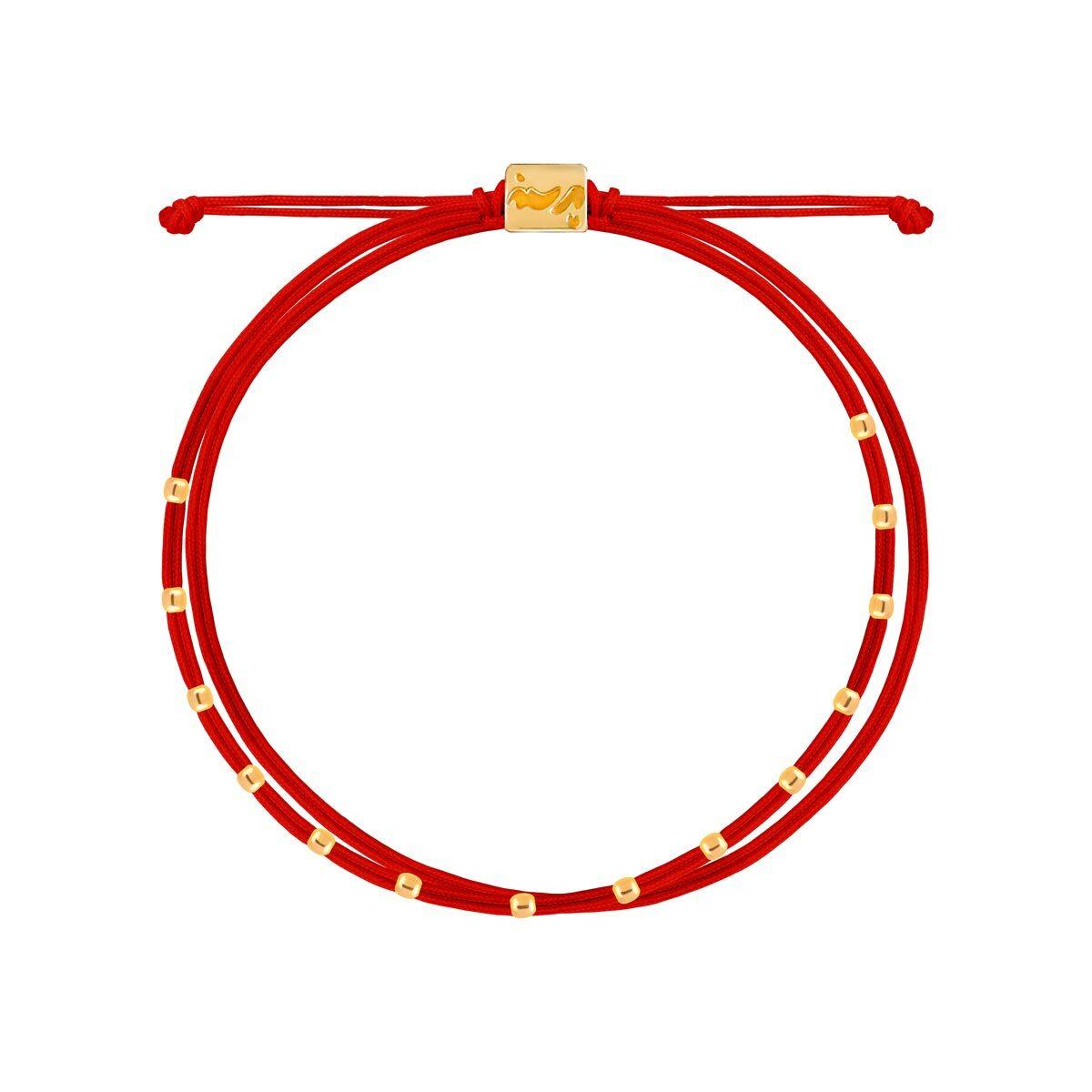 دستبند طلا بافت قرمز چهارده مهره