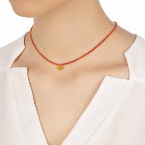 گردنبند طلا سنگی قرمز دایره حکاکی