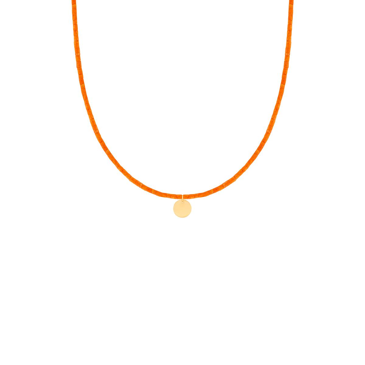 گردنبند طلا سنگی نارنجی دایره حکاکی