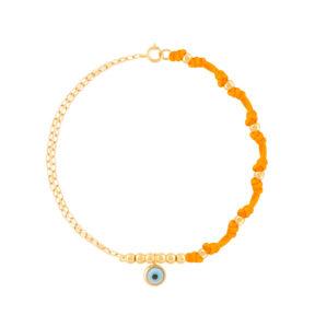 دستبند طلا بافت نارنجی چشم و گوی