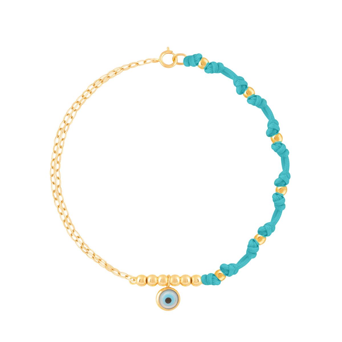 دستبند طلا بافت آبی چشم و گوی