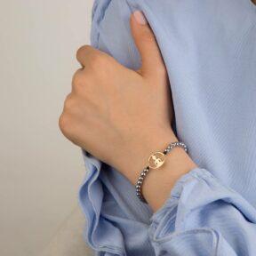 دستبند طلا سنگی یوگا و دایره