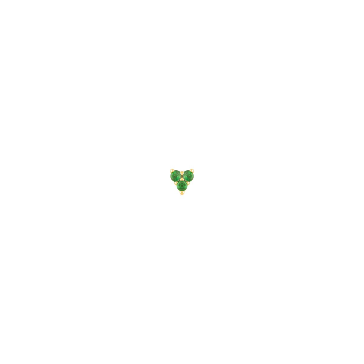 گوشواره طلا تک لنگه ای سه لونا سبز