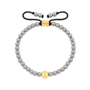 دستبند طلا سنگی تک گوی و حدید روشن