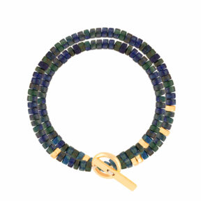 دستبند طلا دو دور مهره و لاجورد