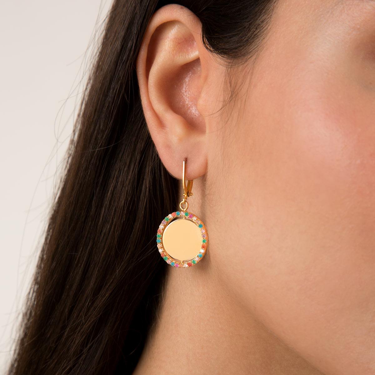 گوشواره طلا دایره متحرک و نگین رنگی