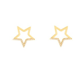 گوشواره طلا ستاره توخالی نگین دار