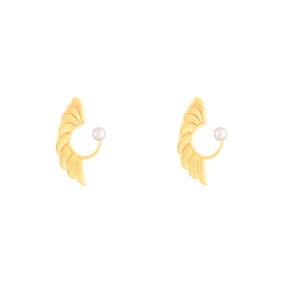 گوشواره طلا برگ منحنی و مروارید