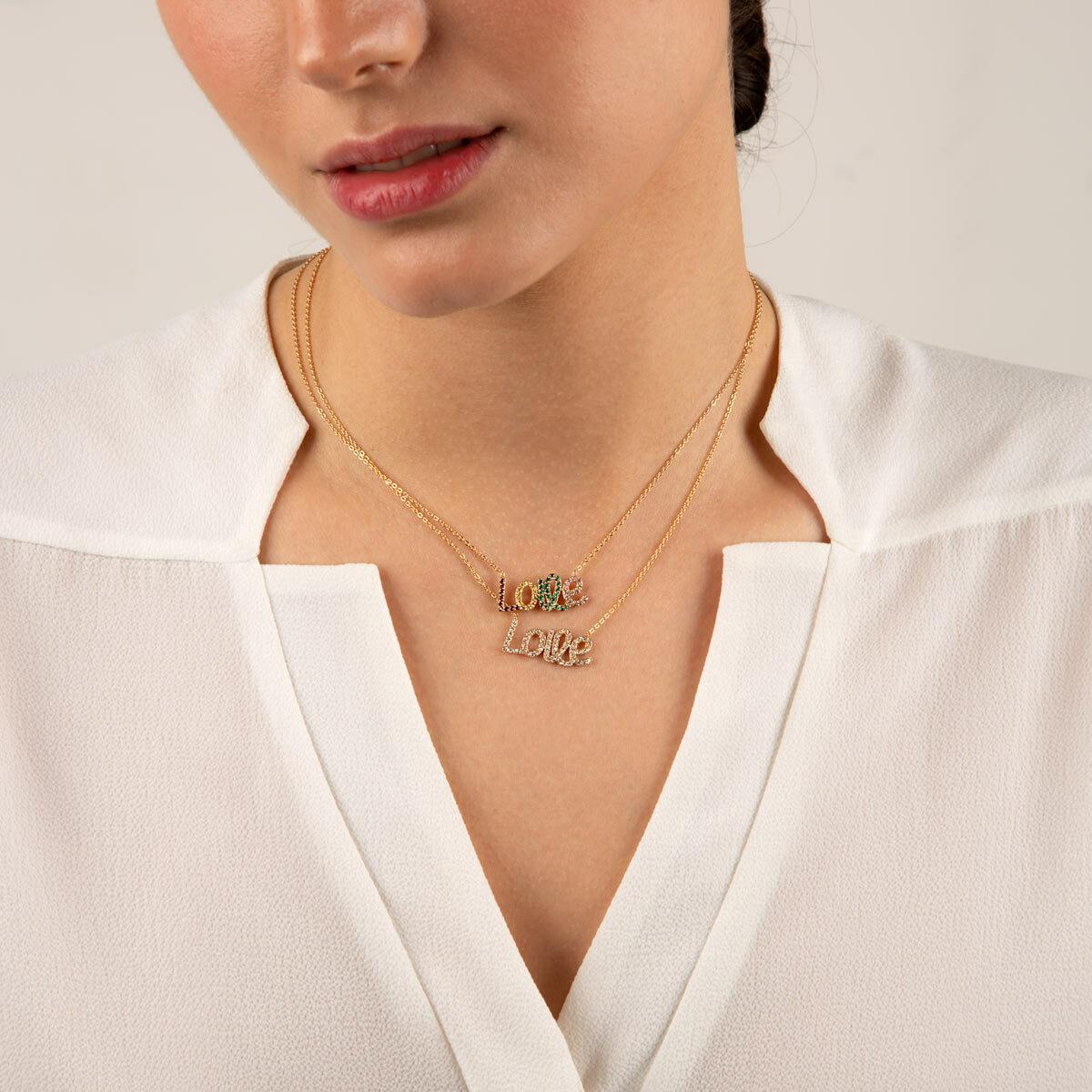 گردنبند طلا Love نگین دار سفید