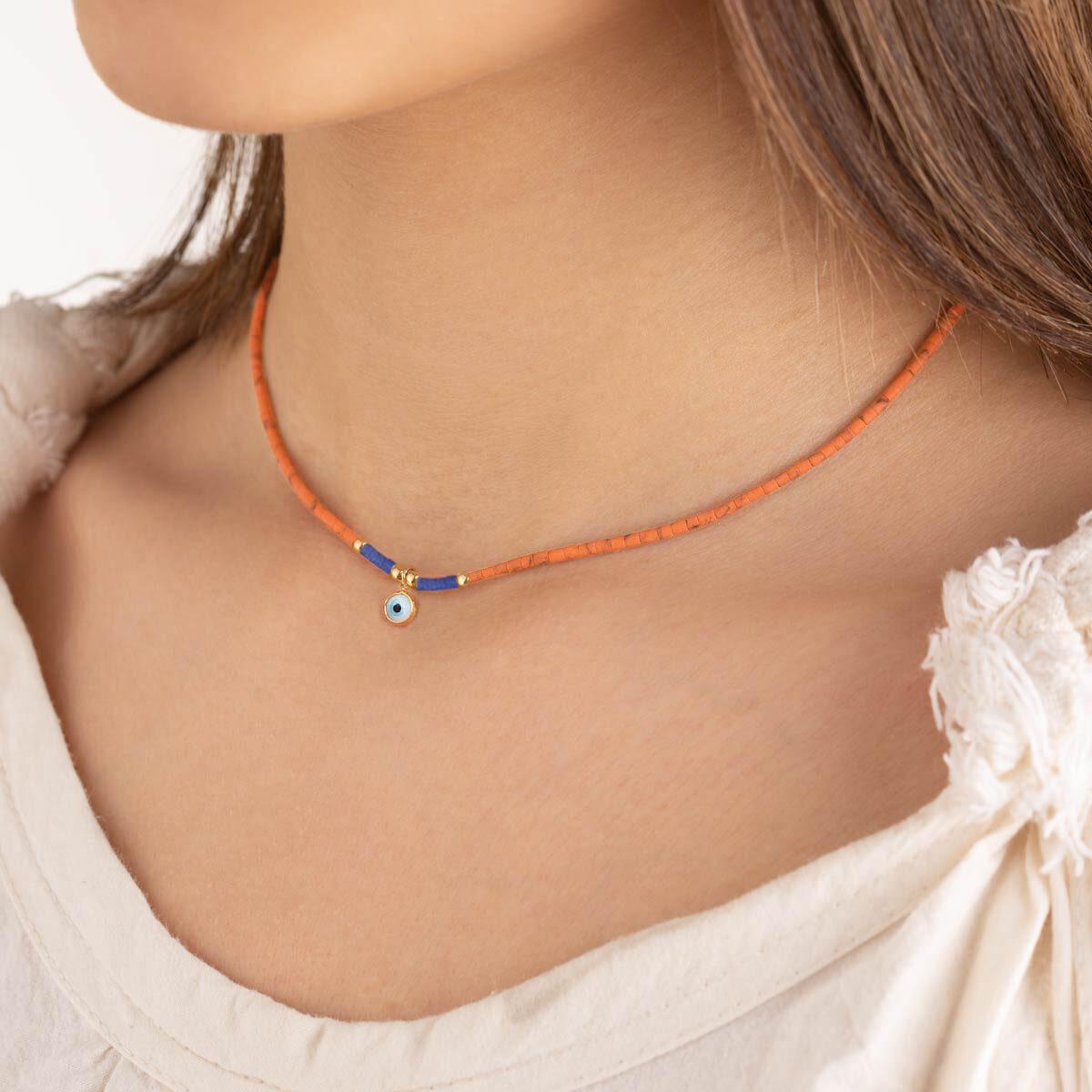 گردنبند طلا سنگی نارنجی چشم و گوی