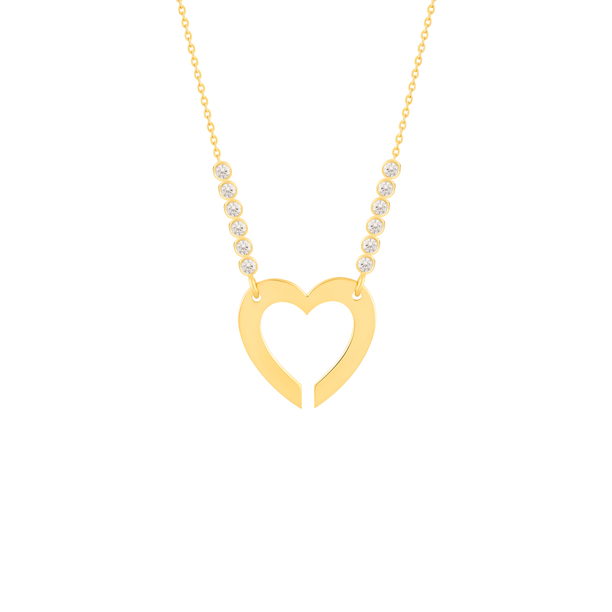 گردنبند طلا قلب توخالی و نگین لونا