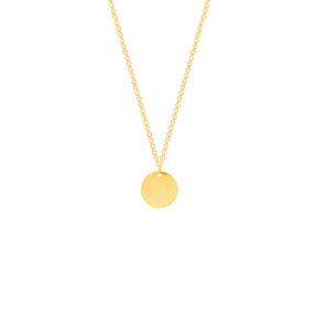 گردنبند طلا دایره حکاکی متوسط و رولو