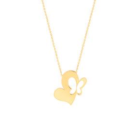 گردنبند طلا قلب و پروانه