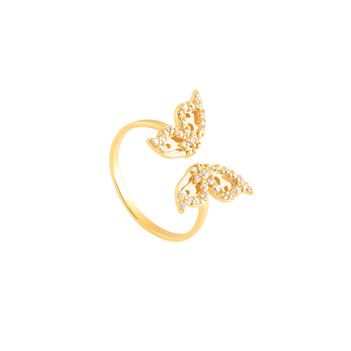 انگشتر طلا پروانه نگین دار