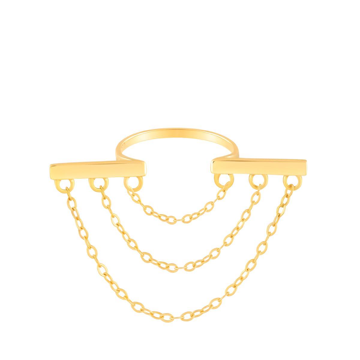 انگشتر طلا مستطیل و زنجیر