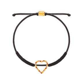 دستبند طلا بافت مشکی قلب نگین دار