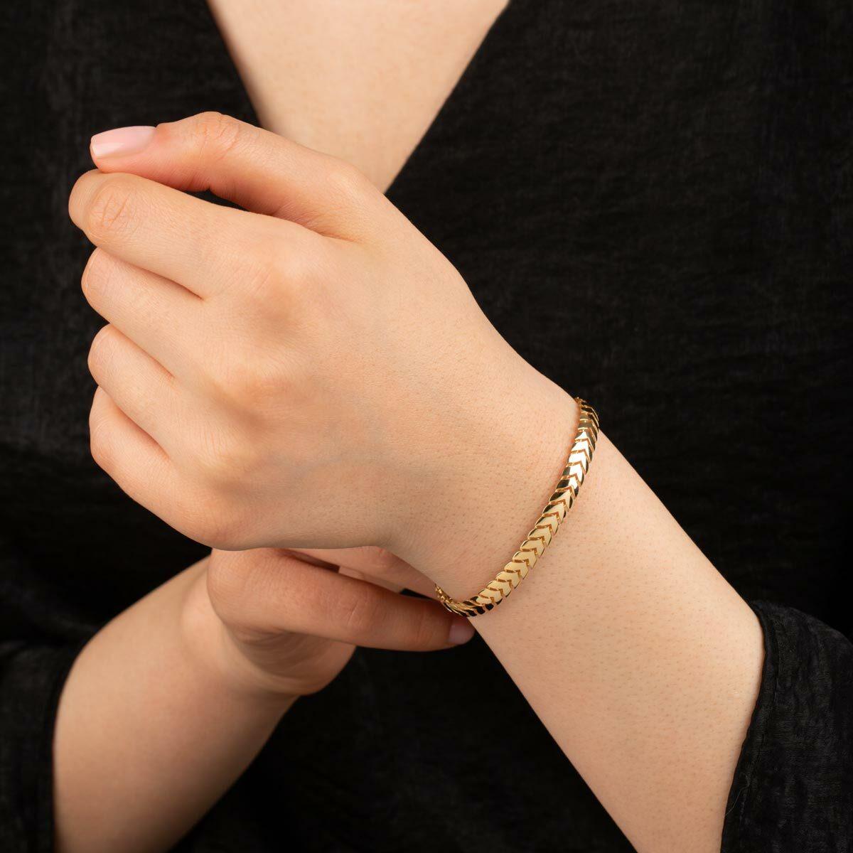 زنجیر دستبند طلا تیغ ماهی