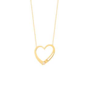 گردنبند طلا قلب نگین متحرک
