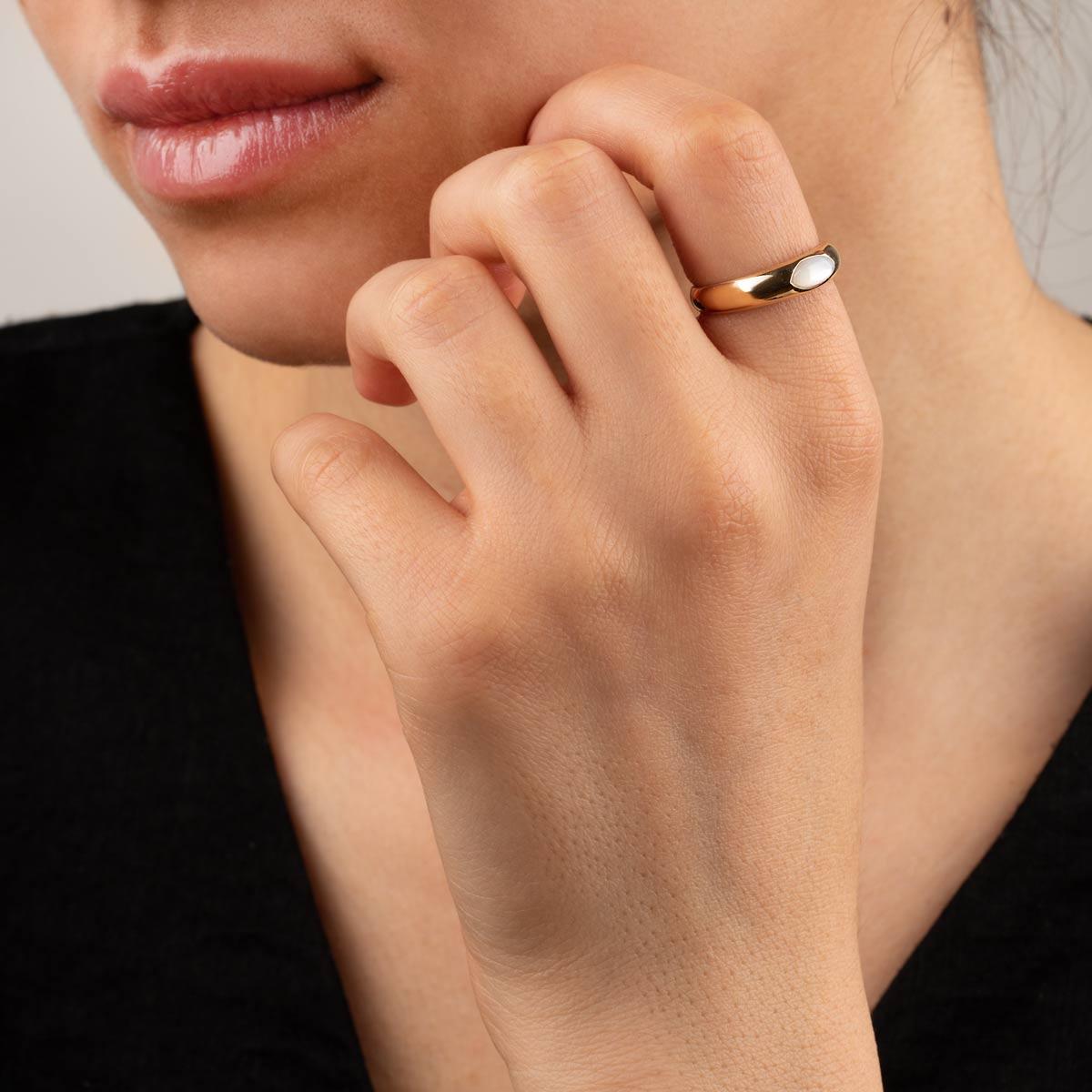 انگشتر طلا دامله صدف مارکیز