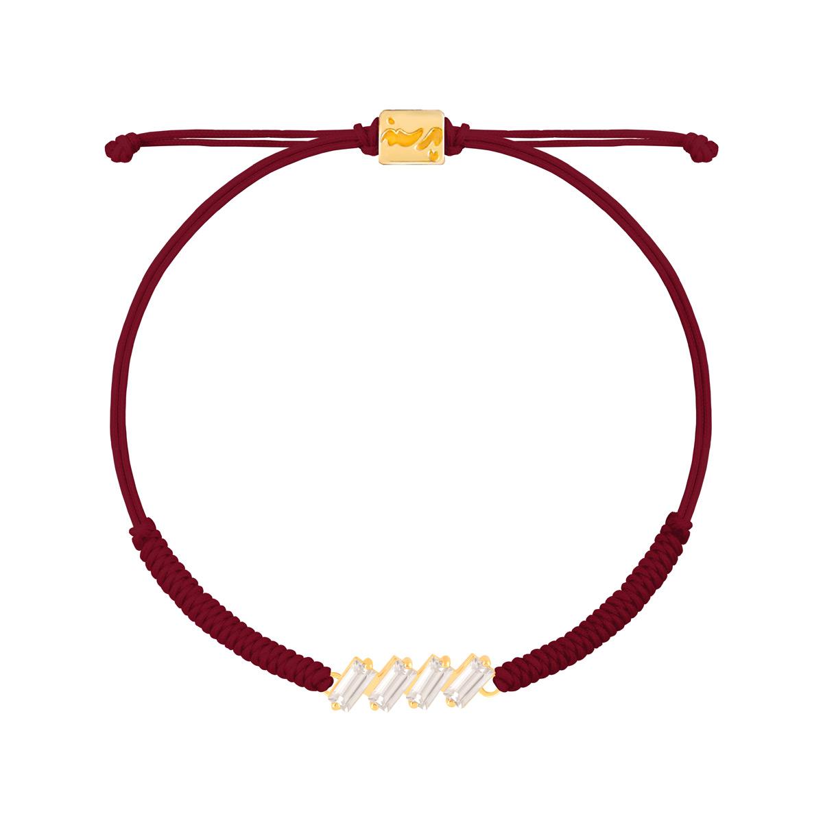 دستبند طلا بافت زرشکی نگین باگت