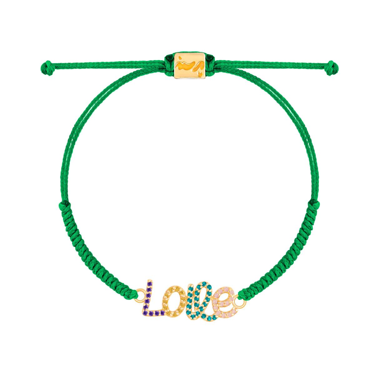 دستبند طلا بافت Love نگین دار