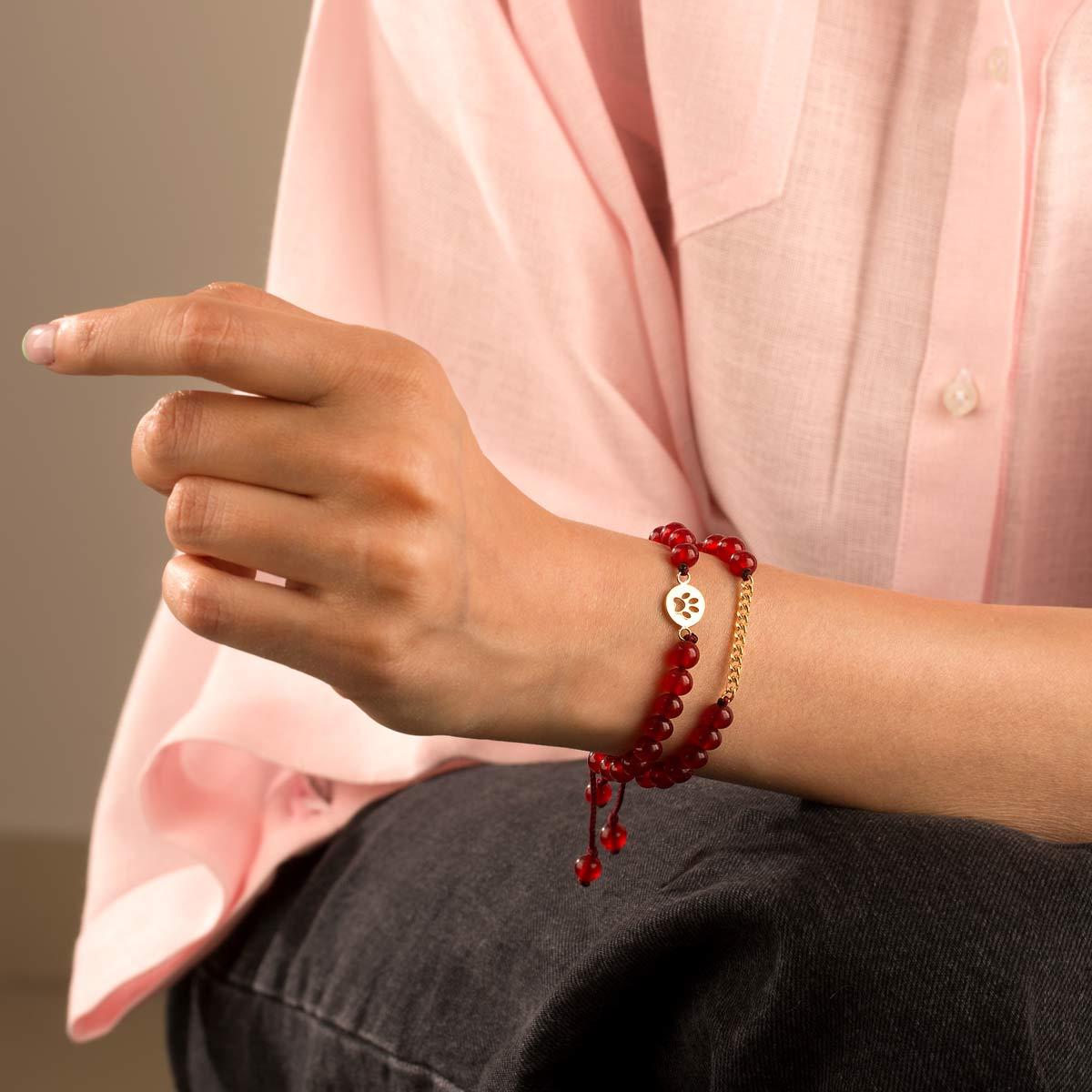 دستبند طلا سنگی پنجه