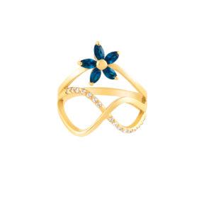 انگشتر طلا گل آبی و بی نهایت