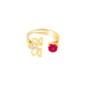 انگشتر طلا گل قرمز و سفید