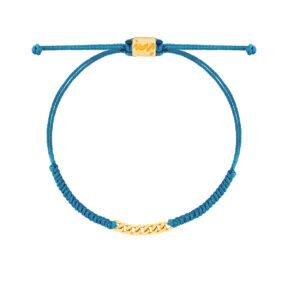دستبند طلا بافت مکرمه آبی هفت حلقه کارتیه
