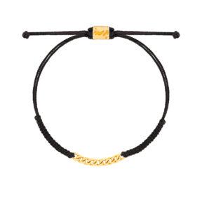 دستبند طلا بافت مکرمه مشکی نه حلقه کارتیه