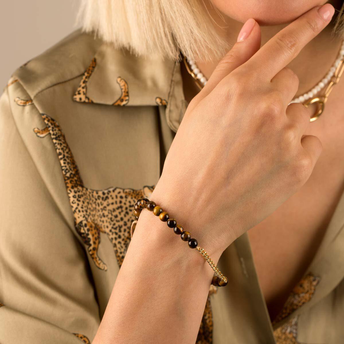 دستبند طلا سنگی پانزده حلقه کارتیه و تایگرز آی