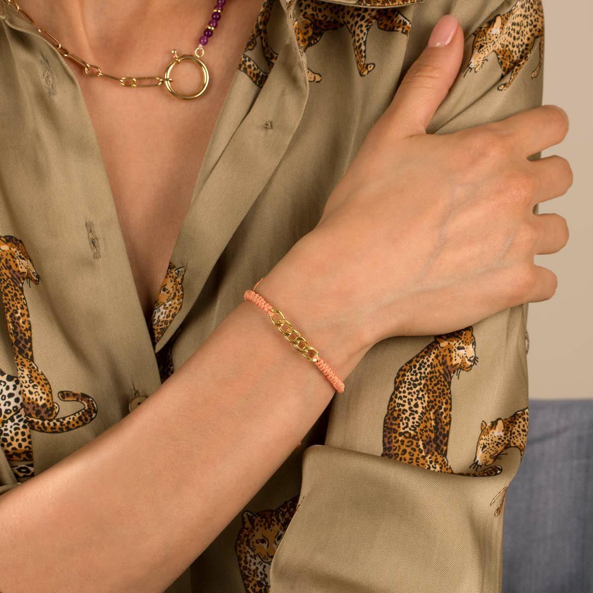 دستبند طلا بافت گلبهی پنج حلقه کارتیه
