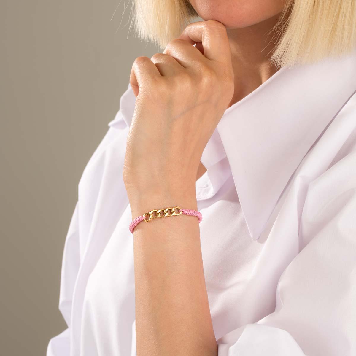 دستبند طلا بافت صورتی پنج حلقه کارتیه