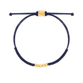 دستبند طلا بافت سرمه ای پنج حلقه کارتیه
