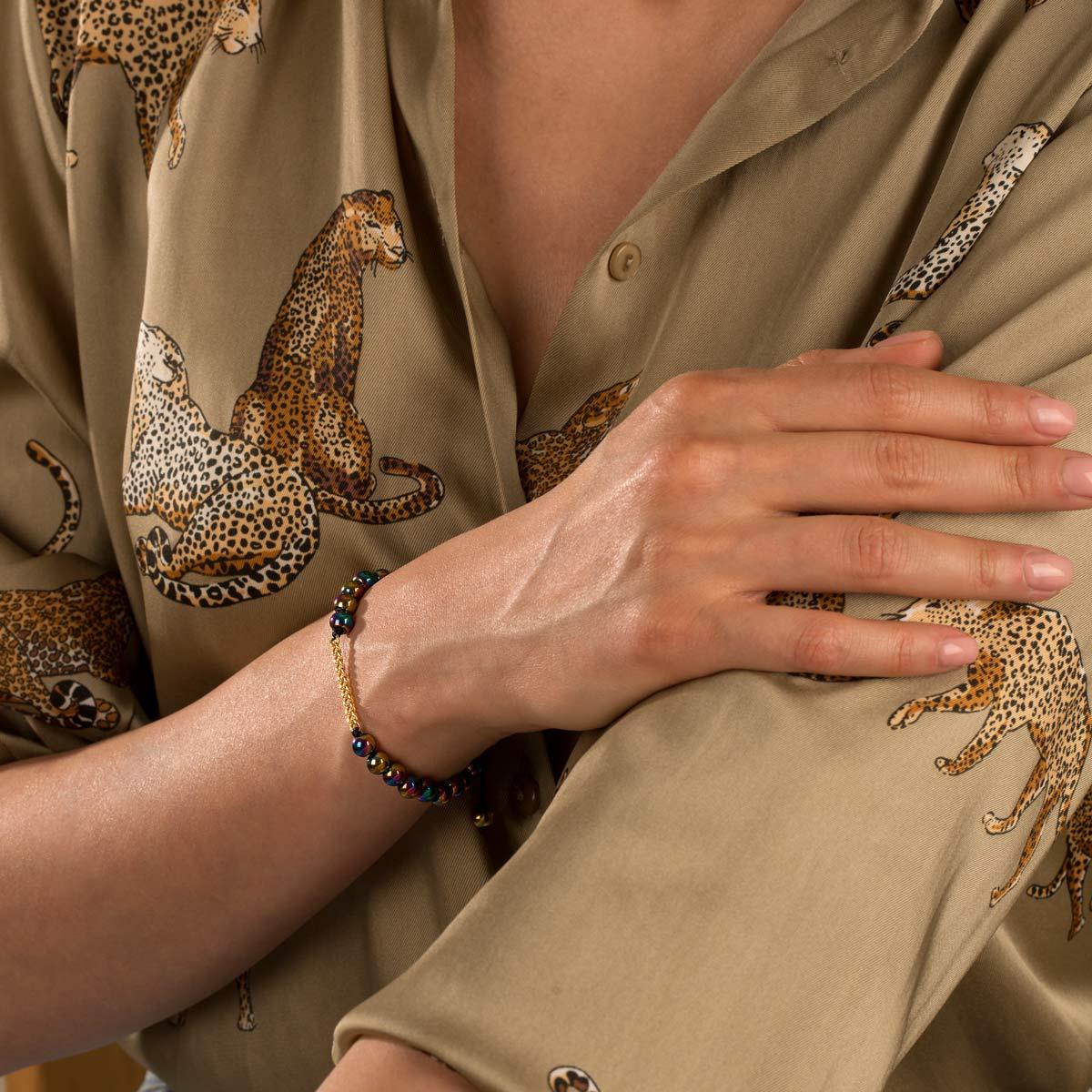 دستبند طلا سنگی یازده حلقه کارتیه و حدید رنگی