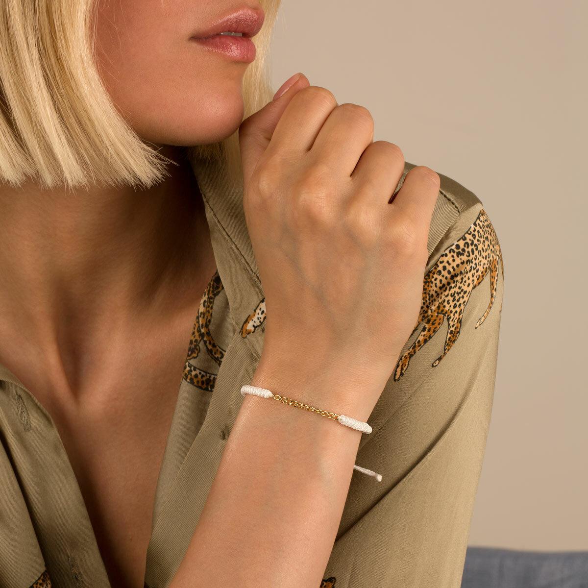 دستبند طلا بافت سفید سیزده حلقه کارتیه