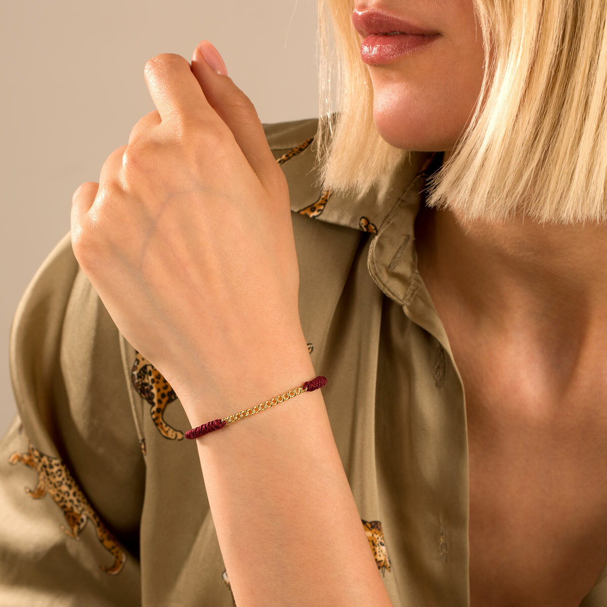 دستبند طلا بافت زرشکی چهارده حلقه کارتیه