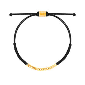 دستبند طلا بافت مشکی چهارده حلقه کارتیه